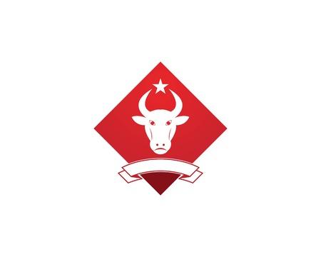 Red bull head icon logo vector template