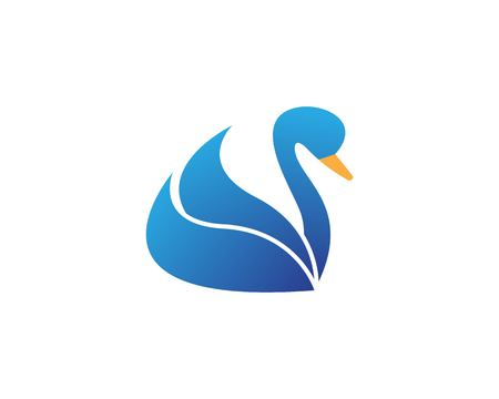 Swan icon logo vector template  イラスト・ベクター素材