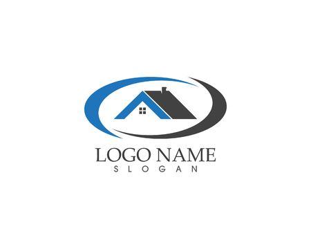 Immobilien und Gebäude nach Hause Logo Vektor Vorlage