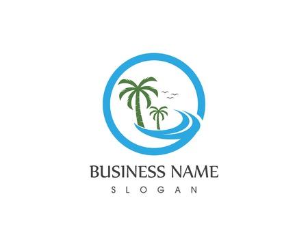 Wave beach hollidays logo design concept