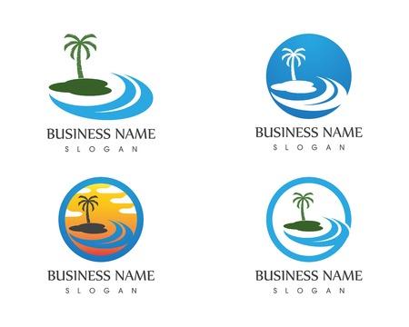 Modello di vettore di logo di vacanze al mare dell'onda