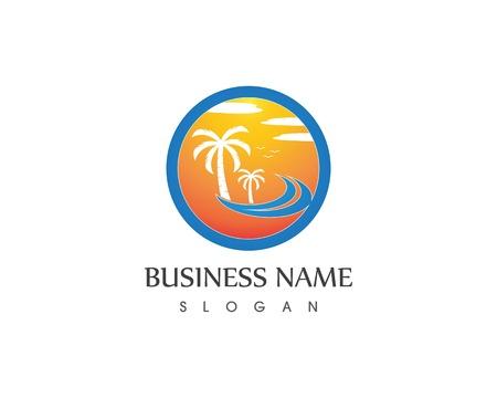 Wave beach holidays logo vector template Illusztráció