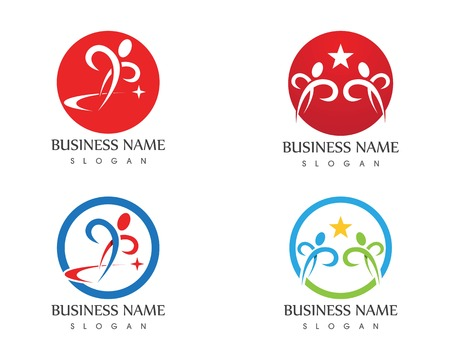 Human running vector logo template character for health Business Illustration