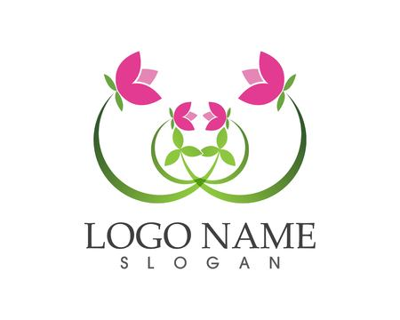 Flower beauty spa logo design vector illustration 일러스트