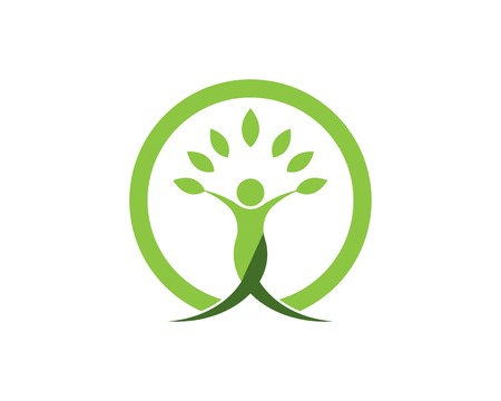 Health people leaf icon logo vector template Çizim