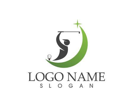 Vector de diseño de logotipo de swing de gente de golf