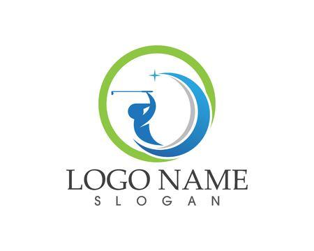 Golfleute schwingen Logo-Design-Vektor