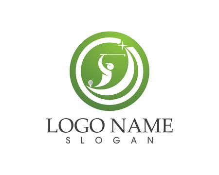Golf people swing logo design vector
