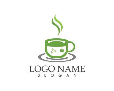 Green tea cup icon logo design vector illustration