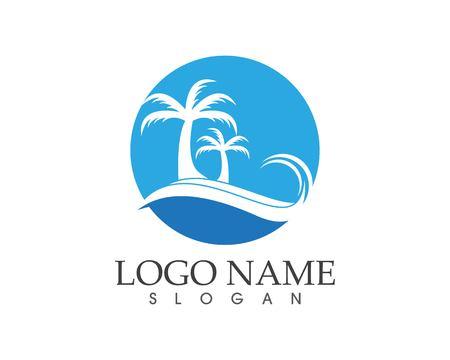 Wave beach holidays logo design