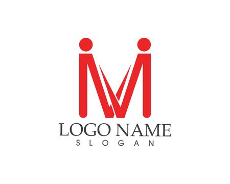 M letter people logo design template