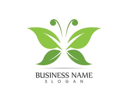 Green butterfly logo design vector 向量圖像