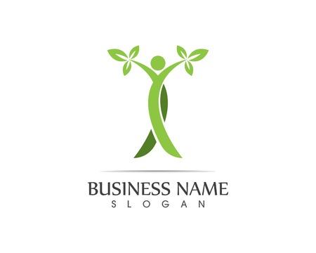 Health people leaf logo design illustration