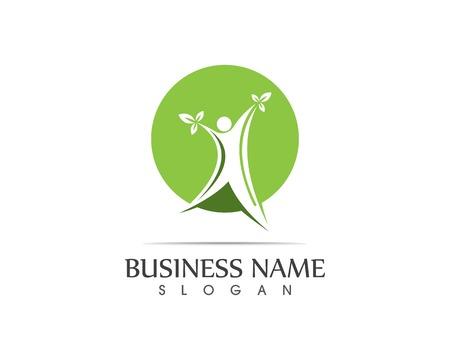 Ilustración de diseño de logotipo de hoja de personas de salud