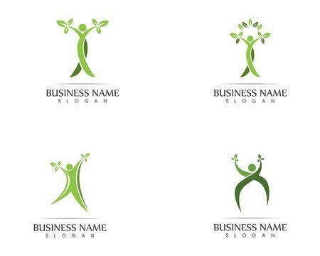 Ilustración de diseño de logotipo de hoja de personas de salud Logos