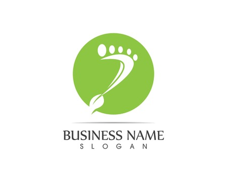 Foot nature leaf logo design illustration