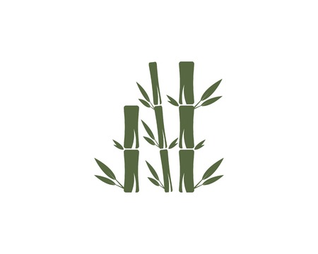 Bamboo leaf icon logo vector Illustration