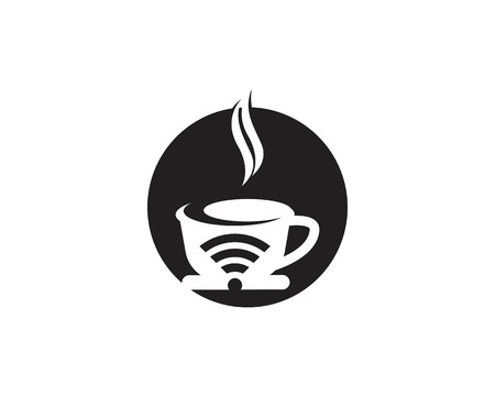 Coffee cup with wireless icon logo design vector template