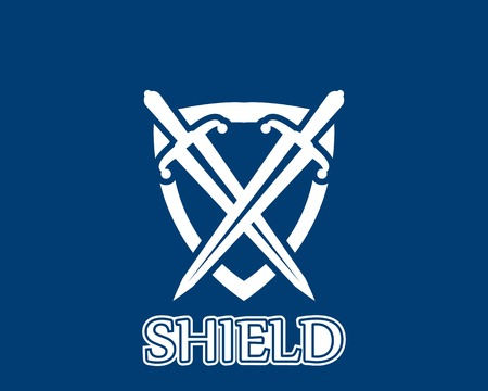 Shield war icon and symbol logo vector Vettoriali