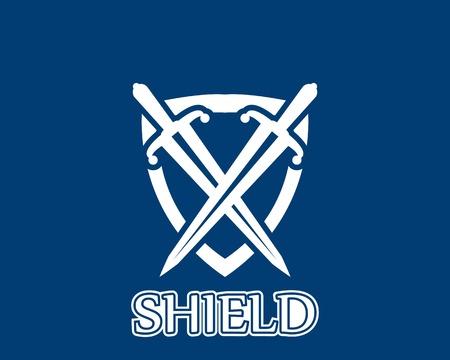 Shield war icon and symbol logo vector Illustration