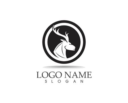 Ilustración de vector de diseño de logotipo de icono de cabeza de ciervo Logos