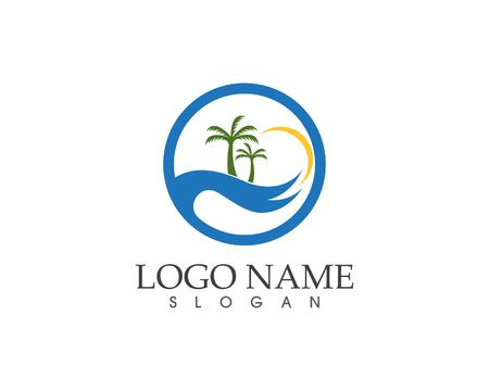 Wave beach holidays logo vector illustration Logo