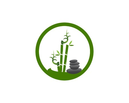 Bamboo icon spa logo design vector illustration