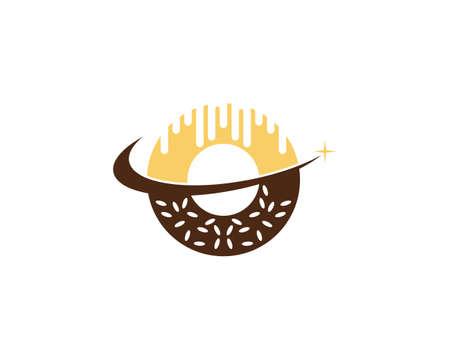Plantilla de vector de logotipo de pastel de donut