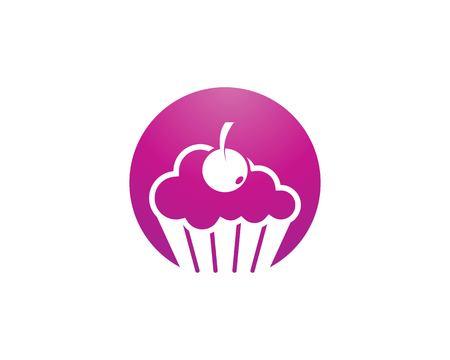 Plantilla de vector de logo de pastel de taza