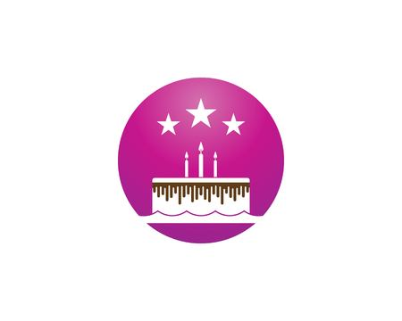 Plantilla de vector de logo de pastel de cumpleaños