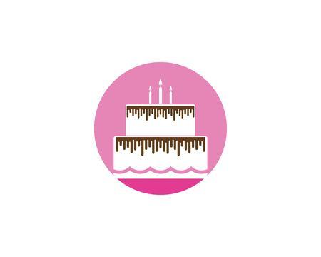 Torta di compleanno logo template vettoriale Logo