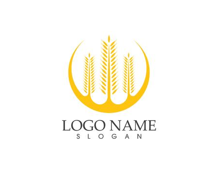 Rice wheat icon logo vector template