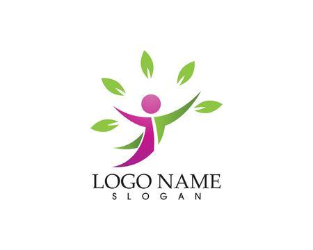 Health people leaf logo vector template