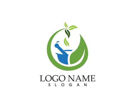 Herbal pharmacy logo vector template
