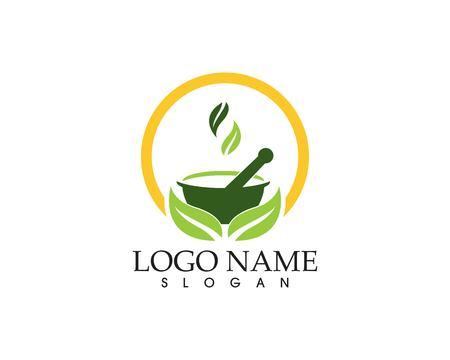 Herbal pharmacy logo vector template Illustration