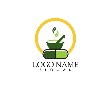 Herbal capsule logo vector template