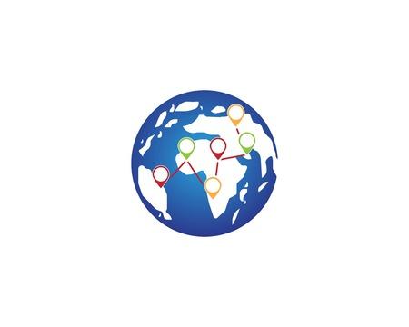 Globe earth map abstract logo vector 일러스트