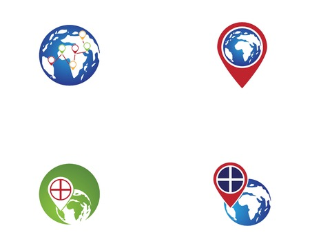 Map earth point logo vector