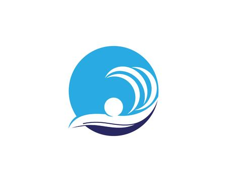 Swimming people icon logo vector illustration
