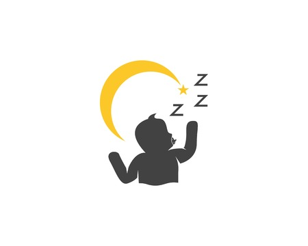 Sleeping cute baby logo design vector