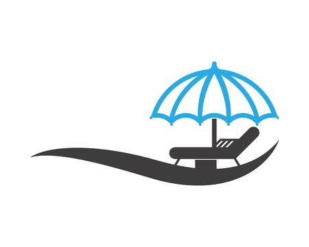 Umbrella beach holidays logo vector Illustration