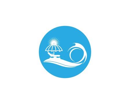 Umbrella beach holidays logo vector Standard-Bild - 112925917