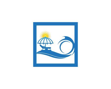 Umbrella beach holidays logo vector Illustration