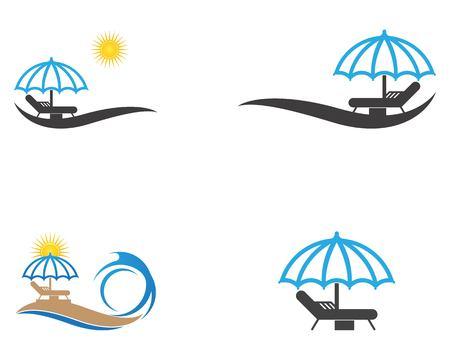 Umbrella beach holidays logo vector  イラスト・ベクター素材