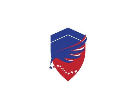 Shield falcon wings logo vector