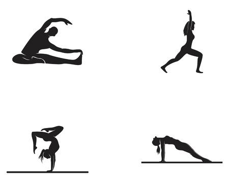 Athletic yoga logo vector silhouette