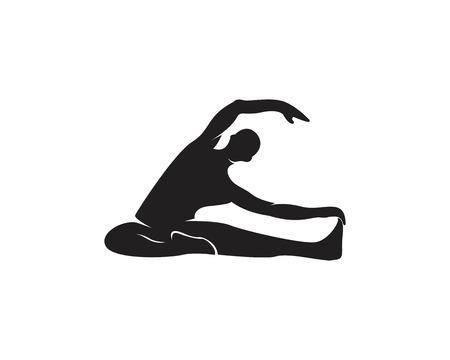 Silueta de vector de logo de yoga atlético