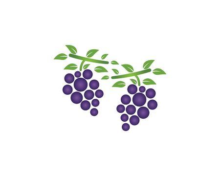 Vecteur de modèle de logo d'icône de raisin