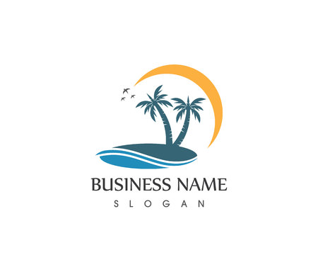 Coconute tree wave beach holidays logo vector