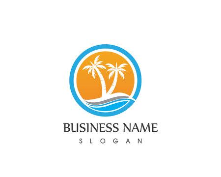 Coconute tree wave beach holidays logo vector